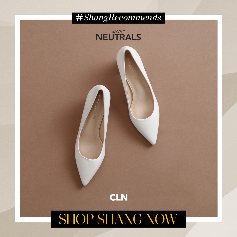 CLN White Heels Pumps