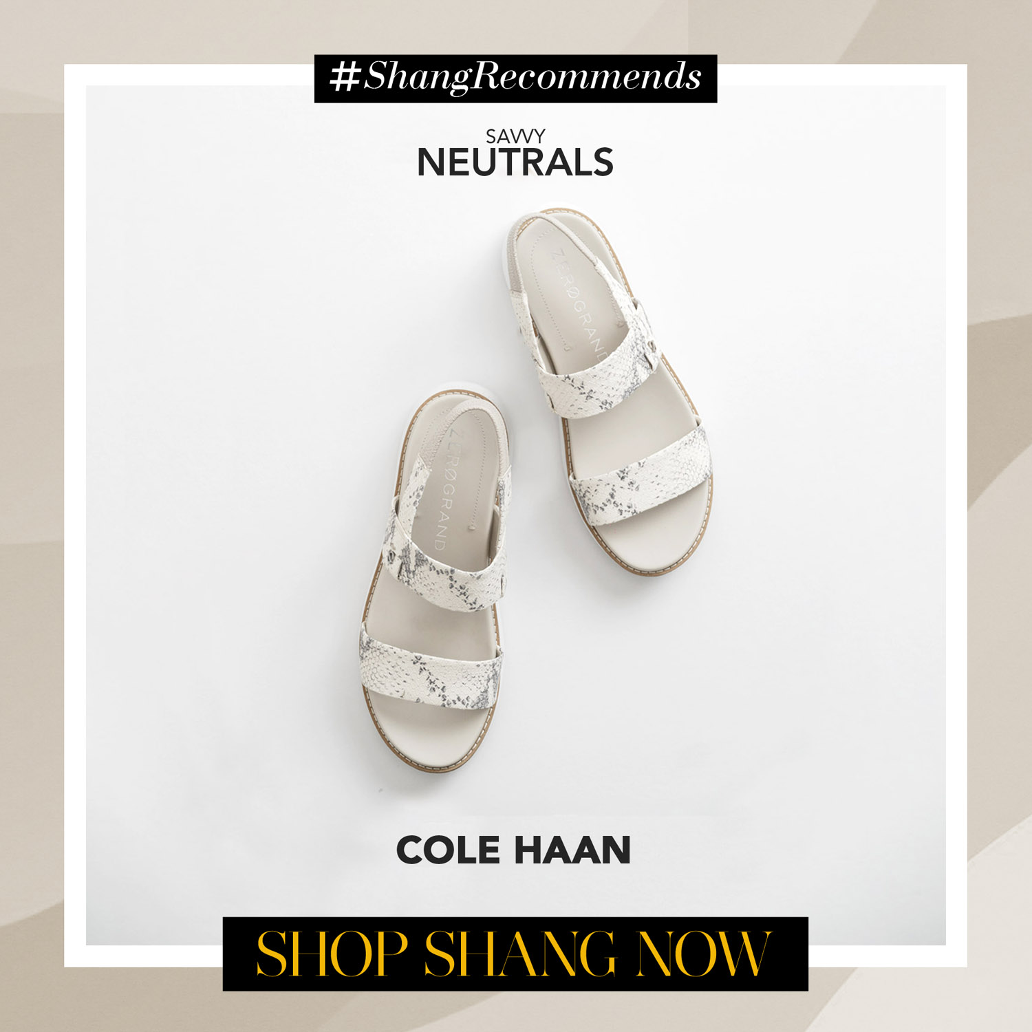 Cole Haan White Global Double Band Sandal