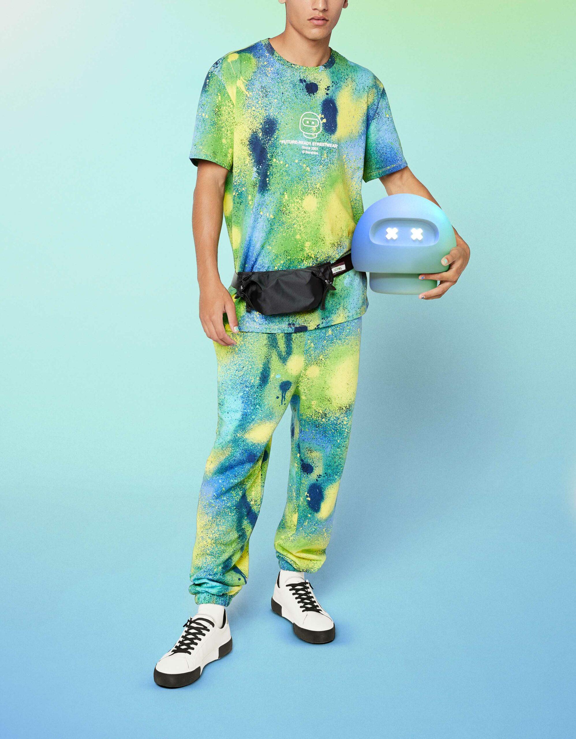 Bershka FUTURE-READY paint splatter T-shirt