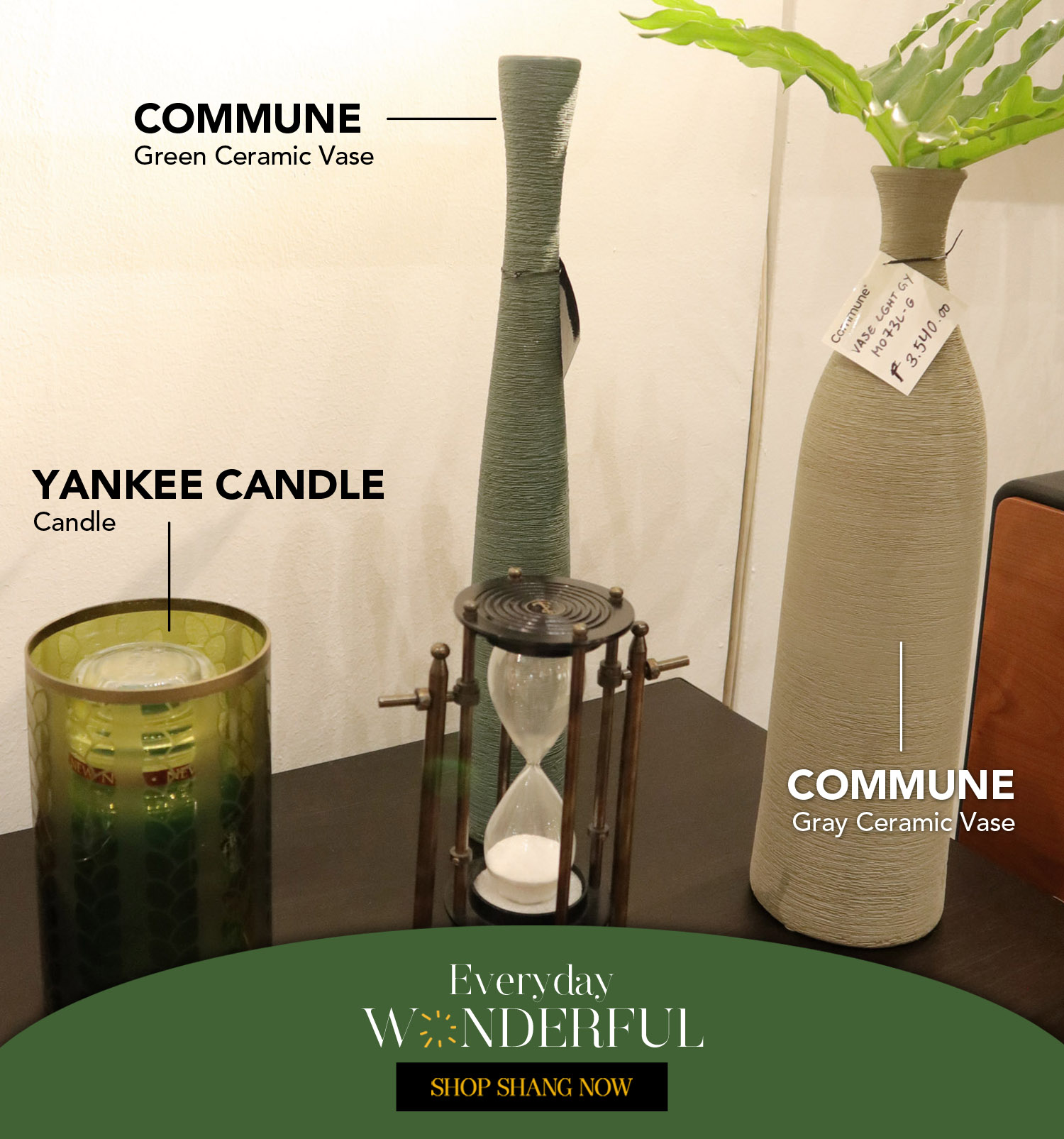 Candle from Yankee Candle, Green & Gray Ceramic Vase from Commune