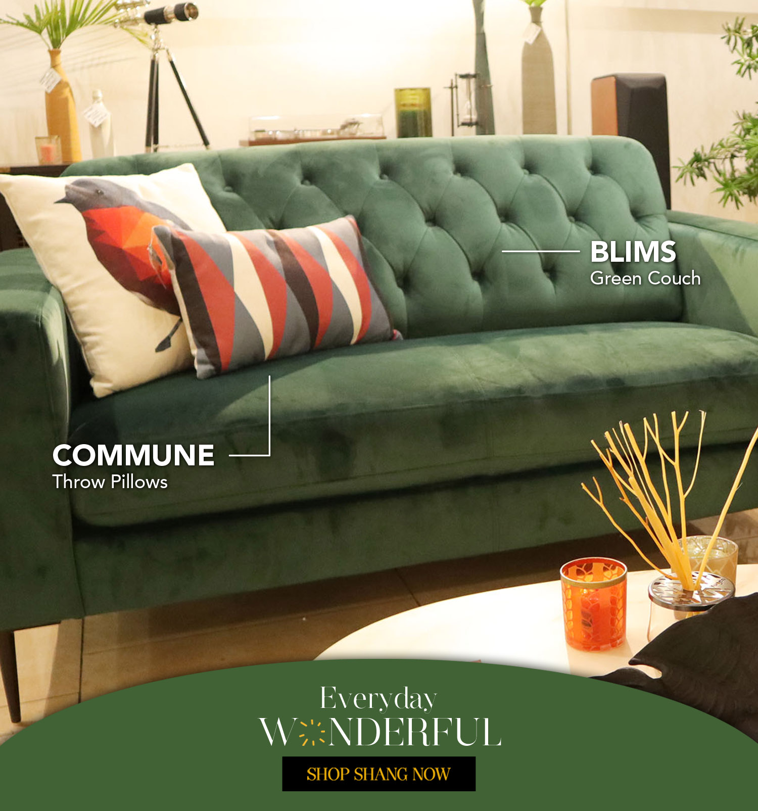Green Couch from Blims_Throw Pillows from Commune