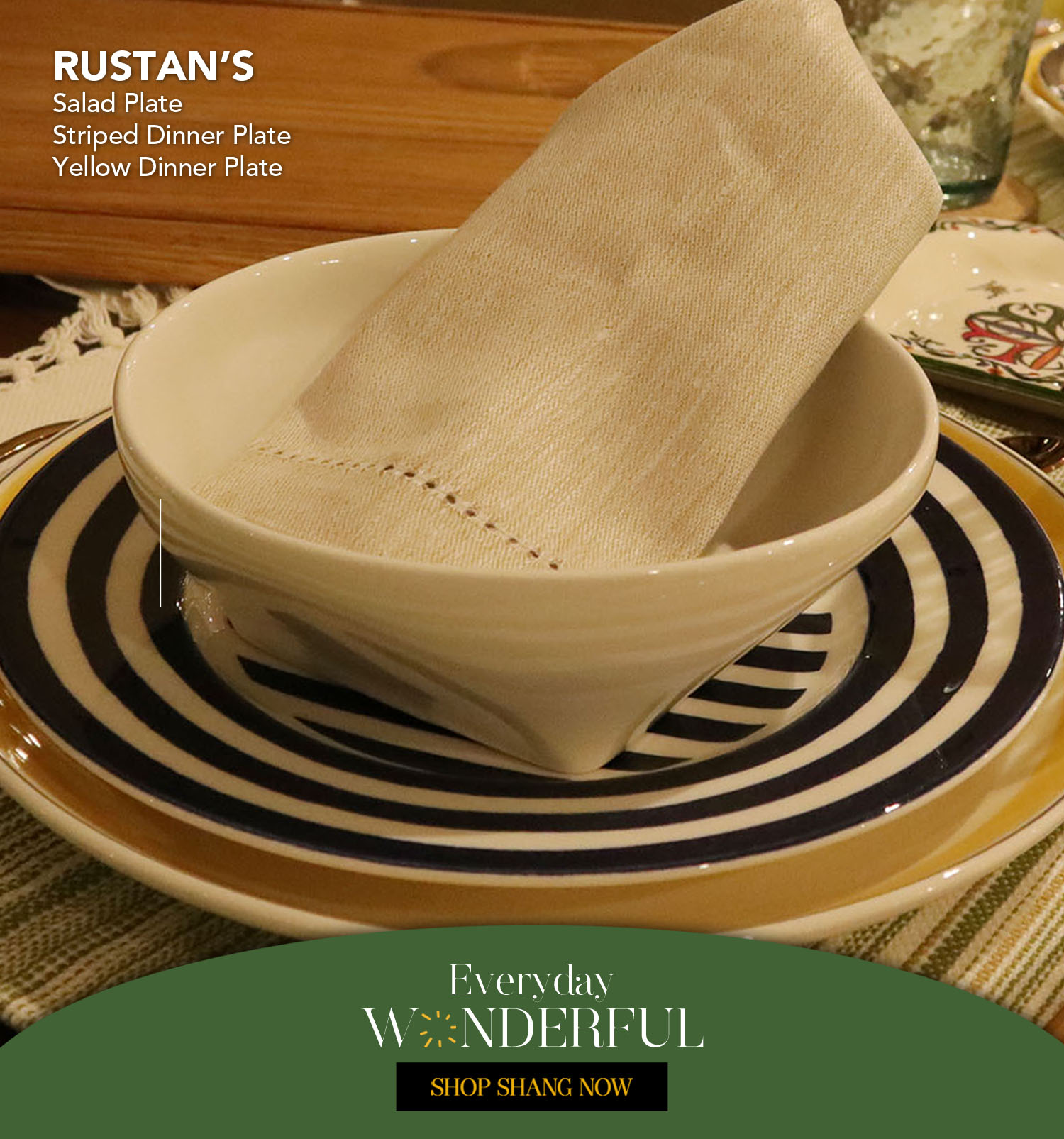 Salad Plate, Striped Dinner Plate & Yellow Dinner Plate from Rustan's