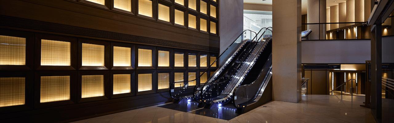 Interior of Shangri-La Plaza featuring the escalator