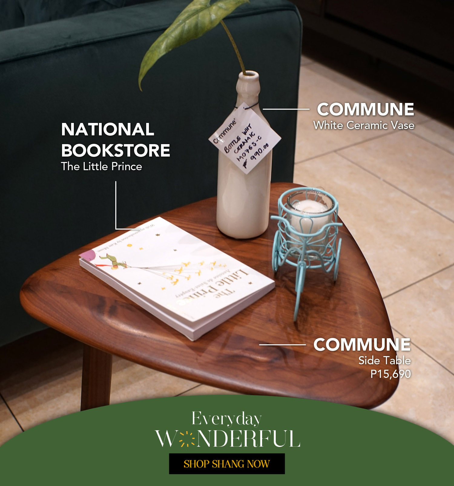 The Little Prince from National Bookstore _ White Ceramic Vase & Brown Wood Side Table from Commune