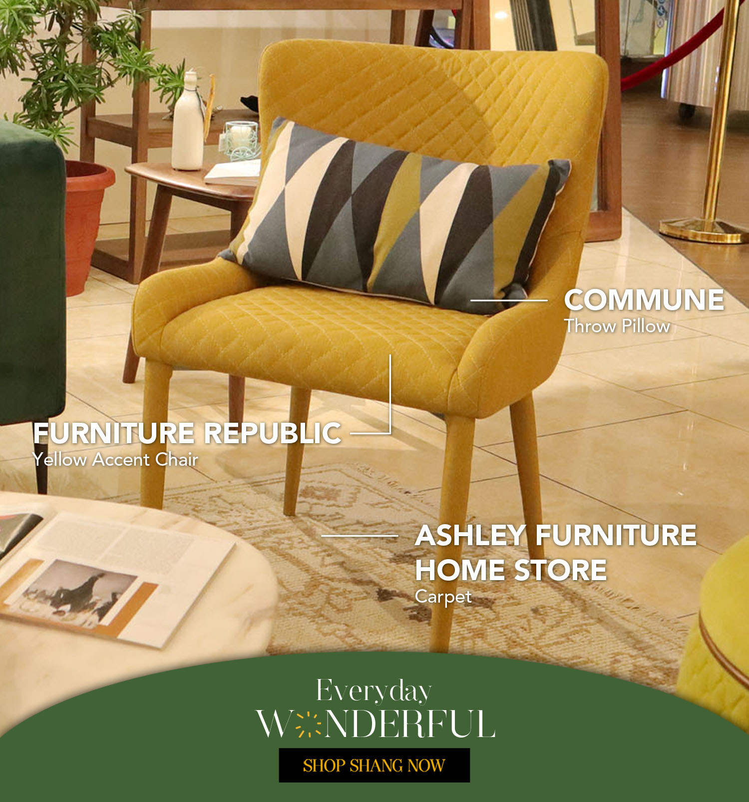 Throw Pillow from Commune _Yellow Accent Chair from Furniture Republic_Carpet from Ashley Furniture Home Store