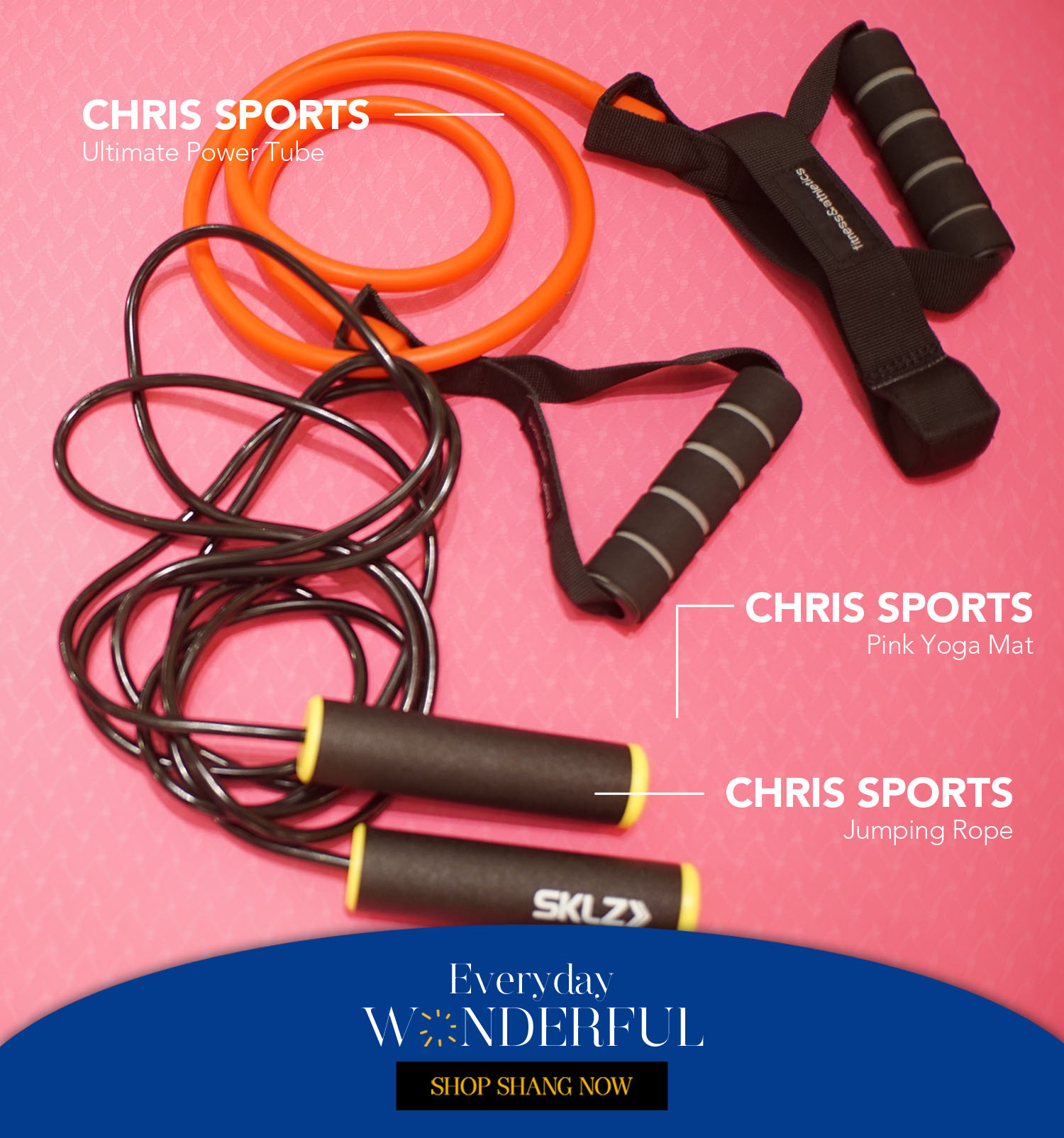 Ultimate Power Tube_Pink Yoga Mat_Jumping Rope from Chris Sports