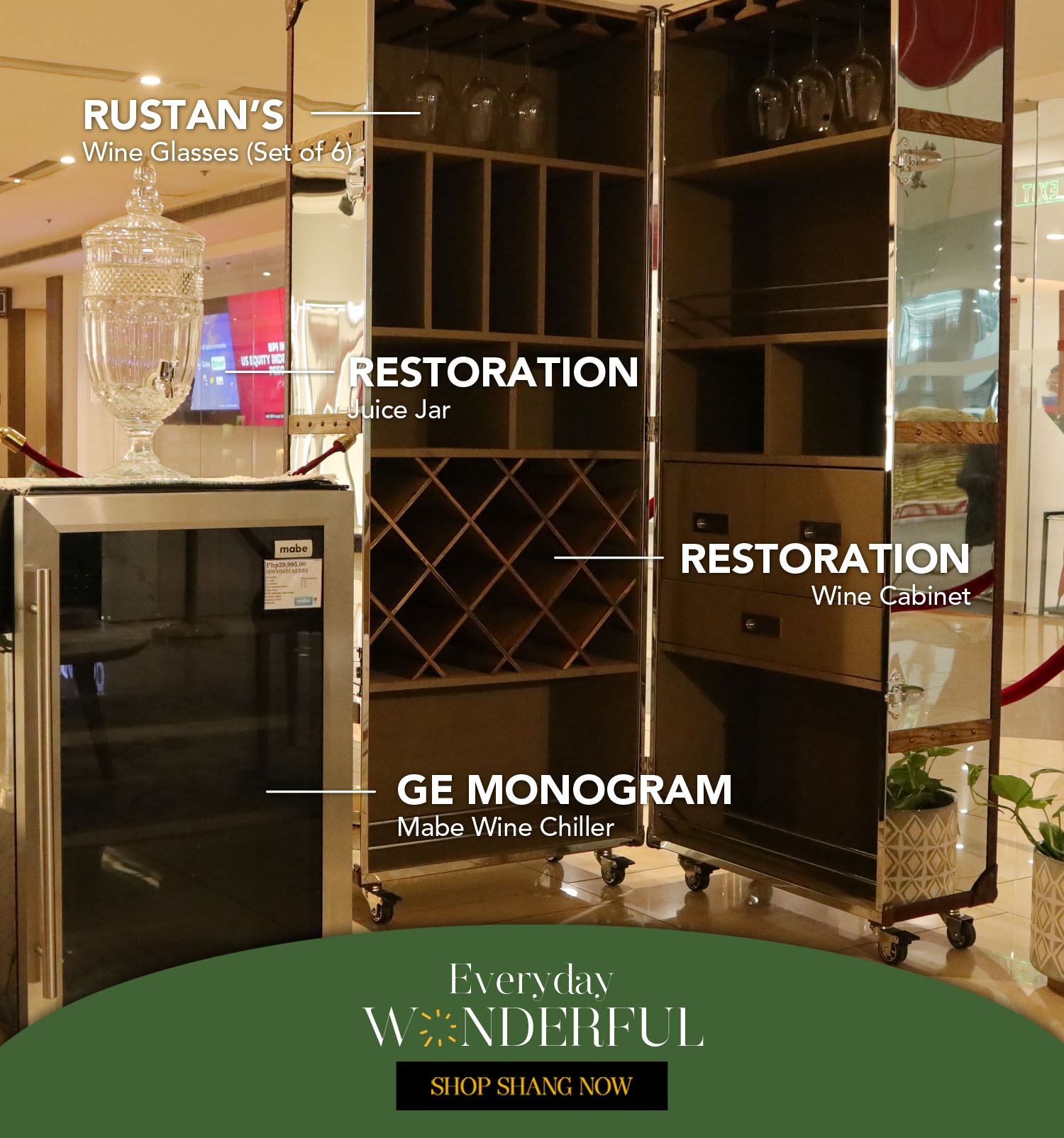 Wine Cabinet and Juice Jar from Restoration_Mabe Wine Chiller from GE Monogram_Wine Glasses(Set of 6) from Rustan's
