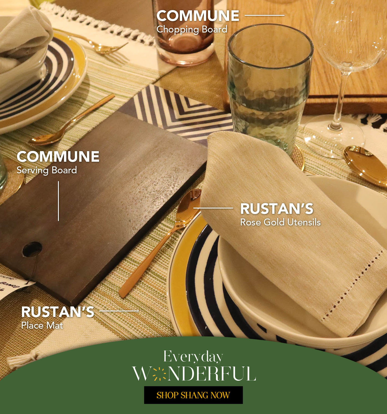 Wooden Chopping Board and Wooden Serving Board from Commune_Rose Gold Utensils and Place Mat from Rustan's