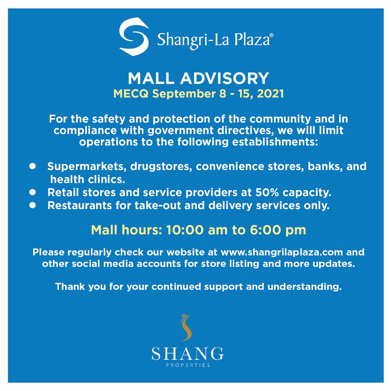 Mall Advisory – MECQ – September 8-15, 2021